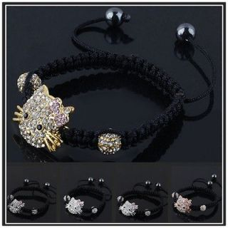 Rhinestone Crystal Hello Kitty 3D Face Metal Charms Macrame Bracelet