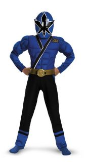 Boys Power Rangers Blue Ranger Deluxe Muscle Halloween Costume S M L