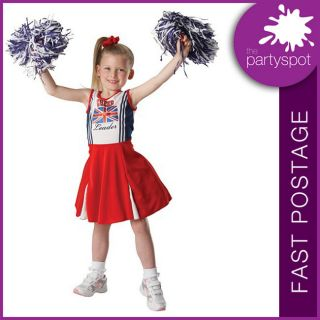 PATRIOTIC CHEERLEADER Union Jack CHILD Fancy Dress Costume   ALL SIZES