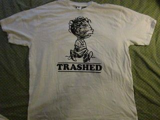 NEW PEANUTS PIGPEN TRASHED Retro distressed look white cotton t shirt