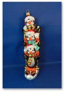 Penguins skiing sea life blown Glass Christmas Ornament animal Poland