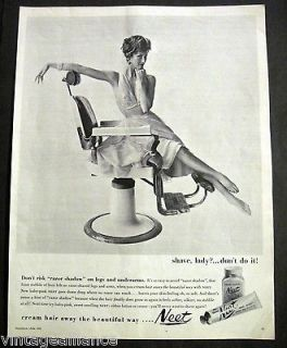 Vintage 1958 Pretty Girl Sitting in Barber Chair Neet for Legs 50s