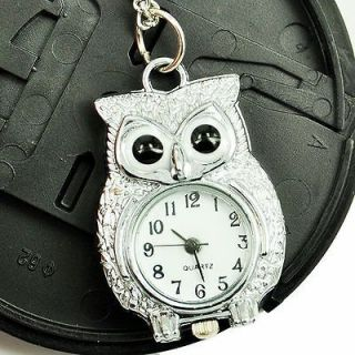 fashion Owl silver Colored Quartz Necklace Pocket Watch girls lady boy