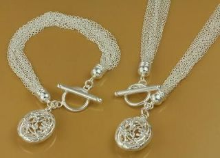 Jewelry Heart Pendant Silver Necklace+Braclet Jewelry Sets PT1009