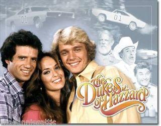 HAZZARD tin sign General Lee Daisy Duke tv show cast Bo Luke Boss car