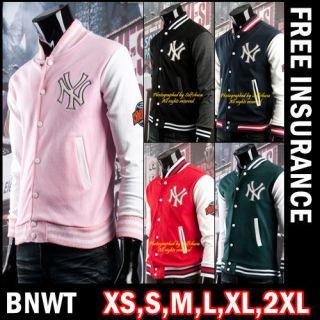 BNWT Women Girl NY Baseball College Varsity Letterman Jackets Pink US