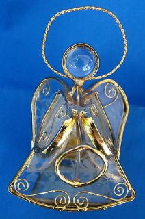 Newly listed Crystal Angel with Gold Trim Candle Holder