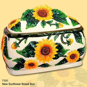 Sunflower Bread Box large ceramic New 3 Dimensional