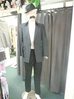 Grey Vintage Style Stroller Coat Steam Punk Costume Velvet Peak Collar