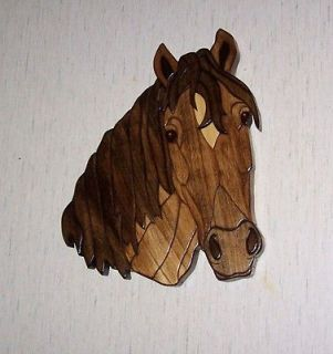 Buckskin horse intarsia wood carving art