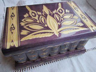 Art Wooden Secret Puzzle Box w/ Hidden Compartments Purple Jewelry