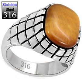 Mens Huge Genuine Brown Tiger Eye Stainless Steel Ring