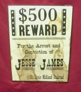 Jesse James   Outlaw   Historic Western Wanted Reward Poster