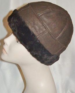 NEW mens/womens Beanie Round Brown Sheepskin Shearling Fur Hat Real