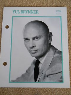 YUL BRYNNER ATLAS MOVIE STAR PICTURE BIOGRAPHY CARD
