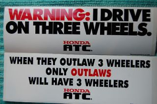 THREE WHEELER BUMPER STICKERS HONDA ATC US90 TRIKE