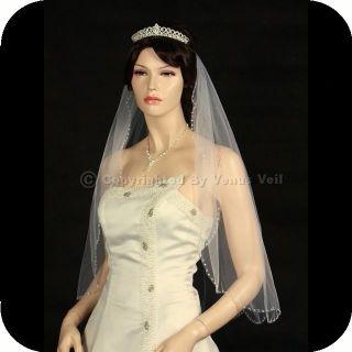 1T Ivory Elbow Scallop Beaded Edge Bridal Wedding Veil