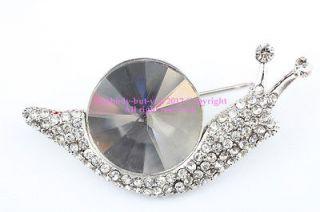 Clear Austrian Rhinestone Crystal Snail Brooch Pin