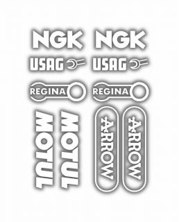 assorted belly pan Sponsor logo Stickers NGK Arrow USAG etc White 04