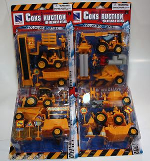 4PC) LOT CONSTRUCTION TRUCK TOY BULL DOZER CRANE CEMENT LOADER FORK