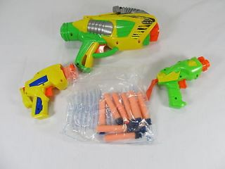Lot of 3 Buzz Bee Tek 6 Soft Air Blaster Guns Nerf Keychain Toy with