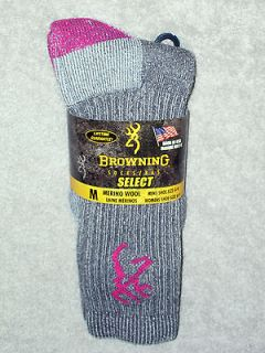 BROWNING SOCKS   ULTIMATE MERINO   #8810   MEDIUM   GRY/PNK   FITS 9