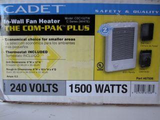 Cadet 67506 In Wall Fan Heater 1500 W Electric 240v COM PAK PLUS