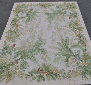 x12 Handmade Tropical Palm Tree Foliage Cabbage Roses Needlepoint