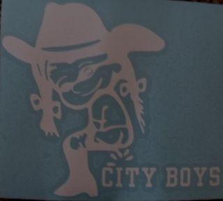 Calvins girlfriend, City Boys, Cowboy Hat, Boots window sticker