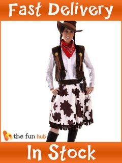 Sexy Ladies Cowgirl Cowboy Fancy Dress Costume Wild West Outfit 10 12