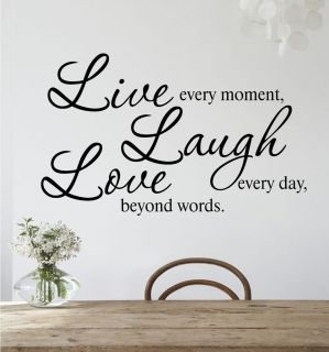 LIVE ~ LAUGH ~ LOVE Removable Wall Art Quote Vinyl Decal Sticker