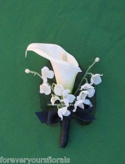 NEW White Calla Lily Mens Boutonnieres, Navy Calla Boutonniere, Navy