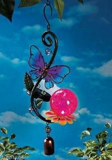 GLASS SOLAR LIGHT WIND CHIMES BELL BUTTERFLY BIRD OR FROG   BEAUTIFUL