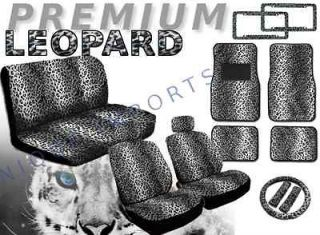 Snow Leopard Universal 17pc Car Seat Covers Animal Gray Bench Floor