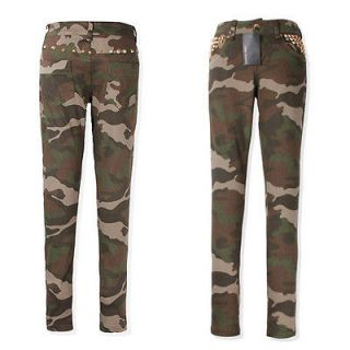 Women Camouflage Skinny Jeans Tights Camo Print Trousers Zip Up Cool
