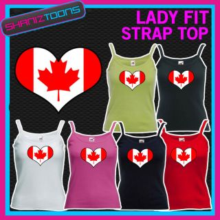 WOMENS LADY FIT STRAP TOP TSHIRT CANADA CANADIAN FLAG LOVE HEART