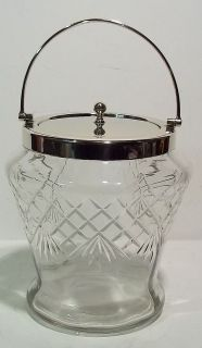 Vintage Crosshatched Ice Bucket w/hinged Handle