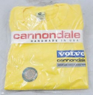 Cannondale Volvo Mountain Bike Team Bicycle T Shirt XL Yellow USA Made