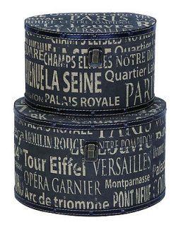 European Landmarks Wood Canvas Oval Hat Box Storage Set/2 by Benzara