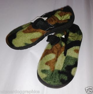 NEWwTags Boys Girls Army Green Camo Boiled Wool Slippers House Shoes
