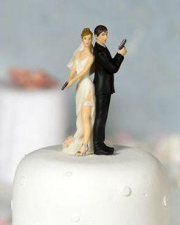 Gun Bride Groom Funny Cute Wedding Cake Topper Couple Figurine Toppers