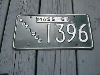 61 MASSACHUSETTS MA MASS ANTIQUE CAR LICENSE PLATE NICE TAG # 1396