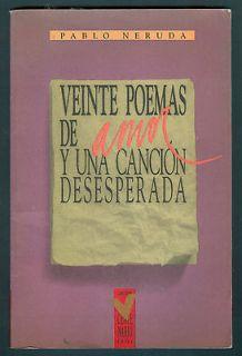 NERUDA BOOK VEINTE POEMAS DE AMOR Y UNA CANCION DESESPERADA PEHUEN ED