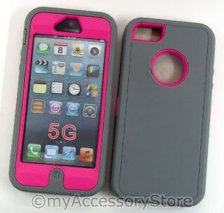 5G GRAY & HOT PINK HEAVY DUTY ARMOR RUGGED DEFENDER PHONE CASE COVER