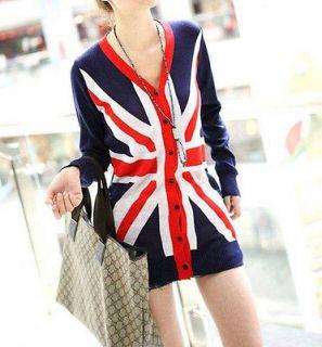 NWT SP82 Ladies Classic Fashion Thin Slim Fit British Flag Cardigans