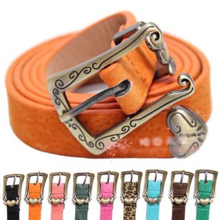 Fashion Cute Cross Buckle Women Candy Color Thin Skinny Pig Leather
