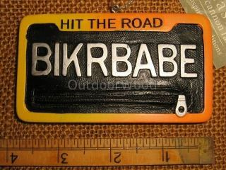 Cannon Falls Biker Babe Bike Motorcycle License Plate Ornament