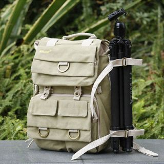 SD02 Canvas DSLR Camera Bag Backpack Laptop Rucksack For Canon Sony