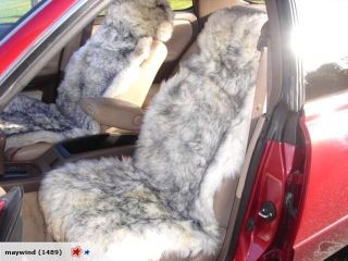 Pair Grey Tipped Sheepskin Car Seat Covers Cover MoreColors