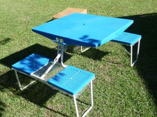 PORTABLE Travel~Camping ~KIDS~Camp FOLDING Suitcase Table & Chair Set